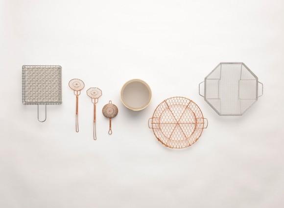 Wire knitted kitchen objects by Kanaami-Tsuji