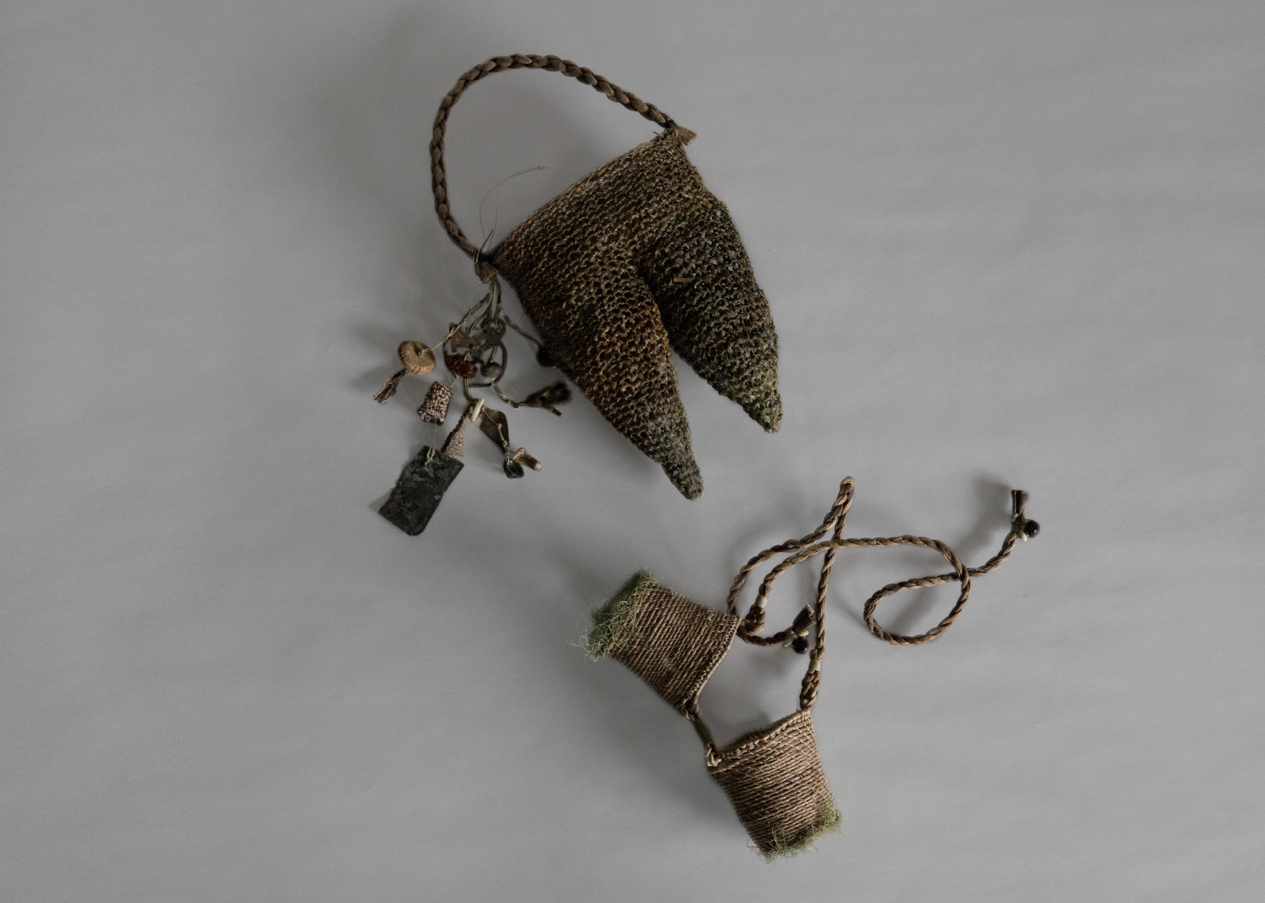 'Safety Goggles with Etui' (for the 'Lofty Thoughts Processor') made by Helle Jorgensen from banana, hemp, lichen, beeswax and found objects B.C. (before cataclysm).